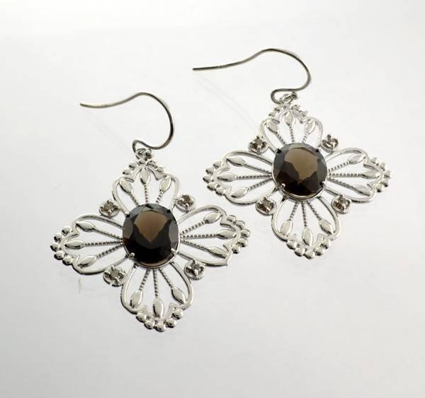 APP: 1k 8CT Oval Smoky Quartz Diamond & Silver Earrings