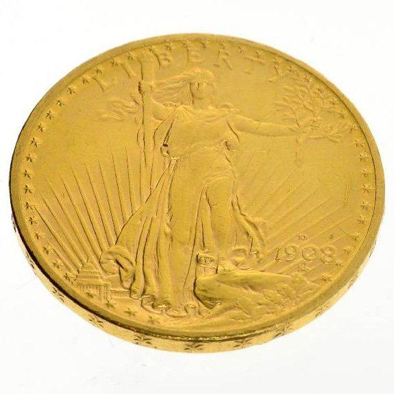 1908 $20 U.S. Saint Gaudens Type Gold Coin - Investment