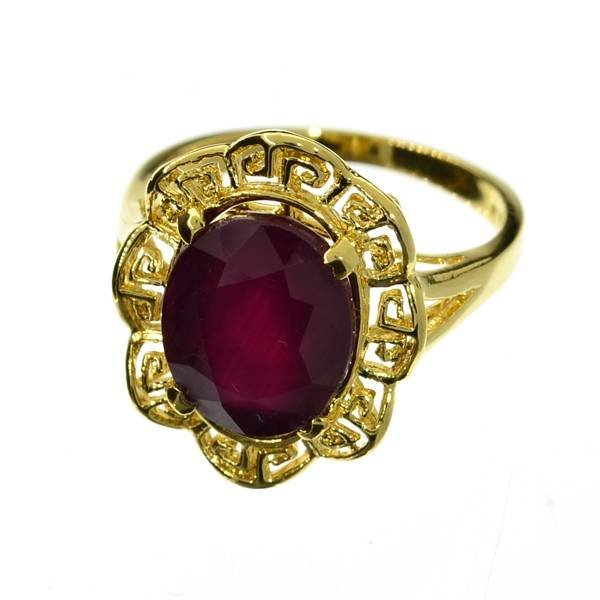 APP: 15k 5CT  Oval Cut Ruby & 14kt. Over Silver Ring