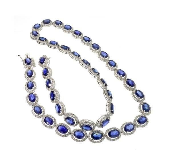 APP: 31k 14kt White Gold Sapphire & Diamond Necklace