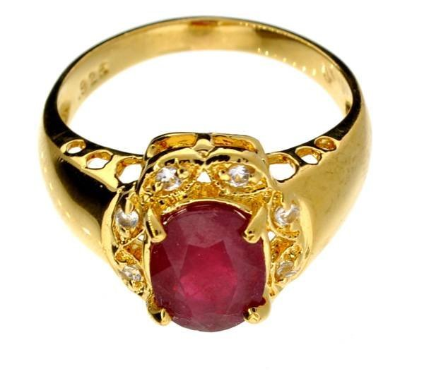 APP: 8k 2CT  Ruby & Topaz 14kt. Over Sterl Silver Ring