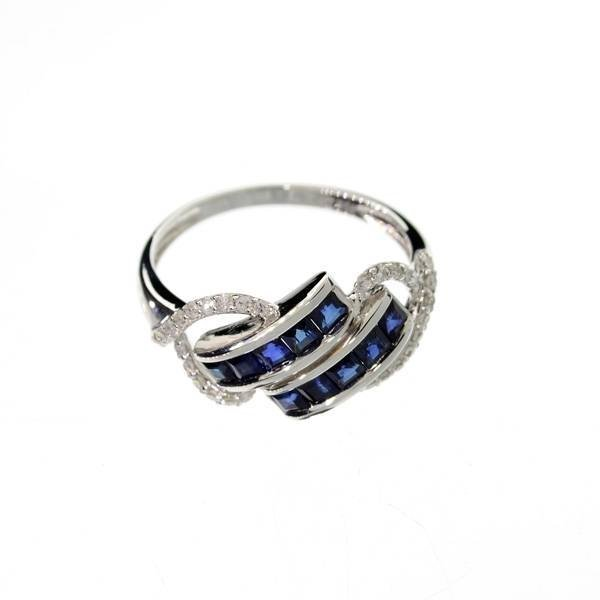 APP: 4k 14kt White Gold, Square Sapphire & Diamond Ring