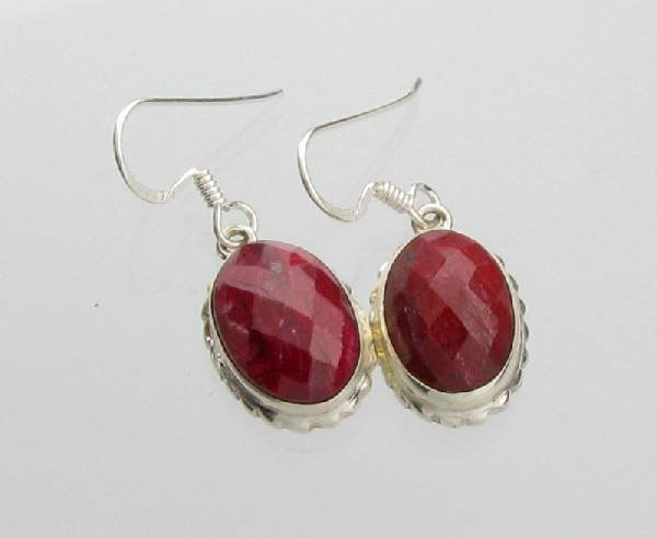 APP: 6.2k 11.72CT Ruby & Sterling Silver Earrings