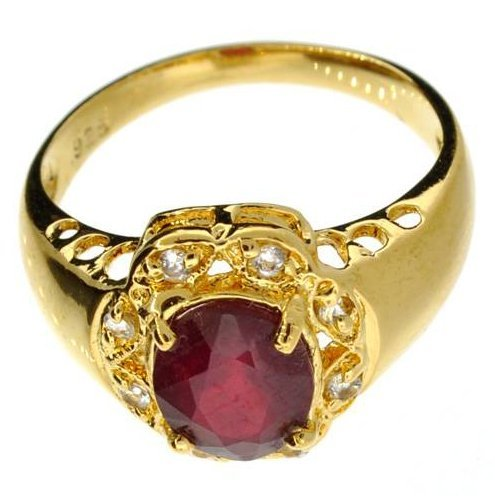 APP: 6k 1CT  Ruby & Topaz 14kt. Over Sterl Silver Ring