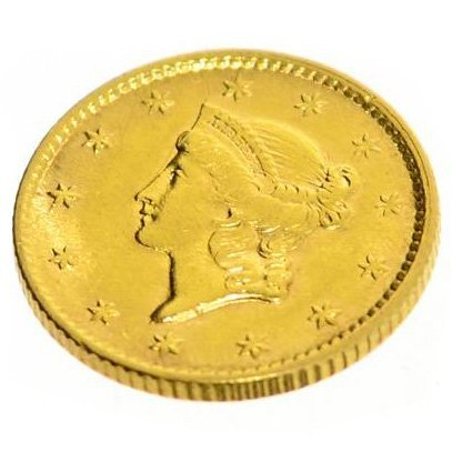 1854 $1 US Liberty Head Type Gold Coin - Investment