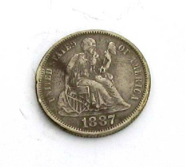 1887 U.S One Dime Liberty Seated Type Coin - Investment