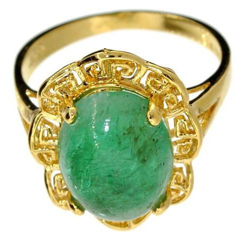 APP: 8k 5CT Emerald & 14kt Yellow Gold Over Silver Ring