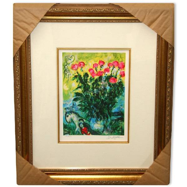 Marc Chagall 'Les Roses' Museum Framed Giclee-Ltd Edn