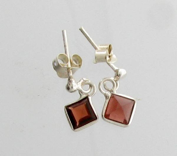 Garnet & Sterling Silver Earrings