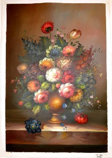 "Oil Painting- Bouquet Of Flowers In Brown Vase- 27""x39"""