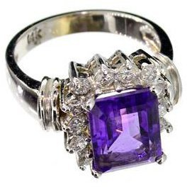 APP: 5k 14kt White Gold, 3CT Amethyst & Diamond Ring