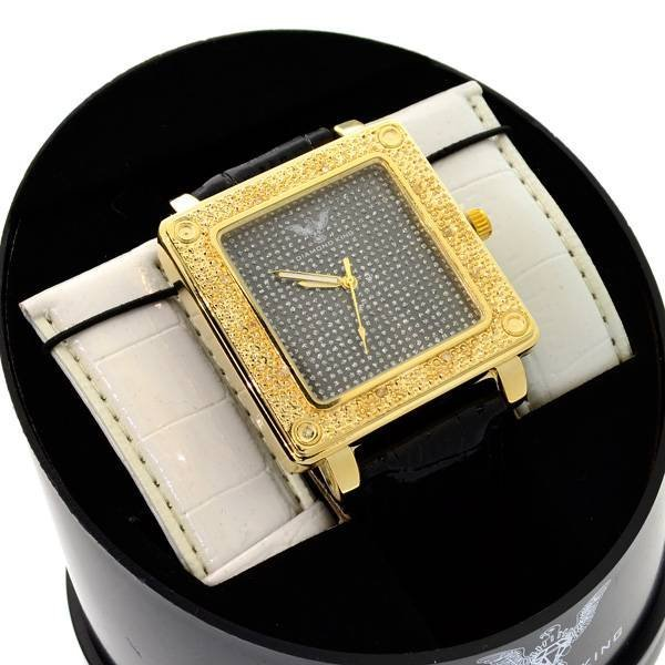 Diamond King Men's Square Stainless Steel Golden Watch