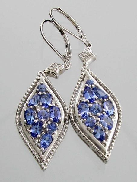 APP: 2k 2CT  Tanzanite & Diamond Sterl Silver Earrings