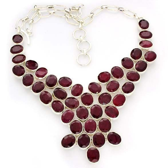 APP: 8k 128 CT Oval Cut Ruby & Sterling Silver Necklace