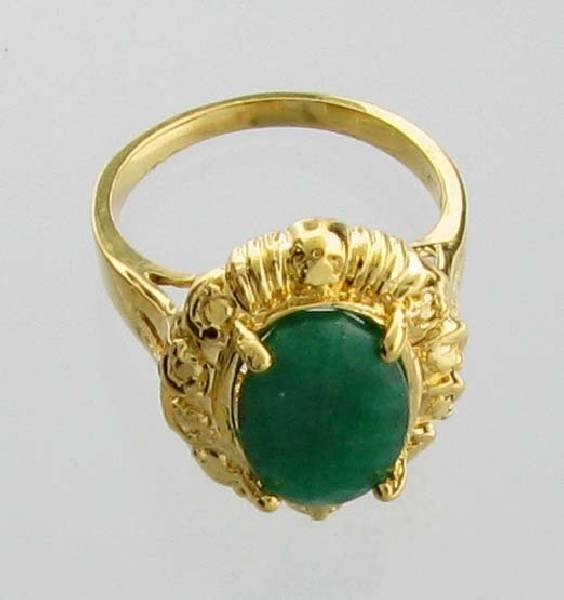 APP: 9k 3CT Emerald & 14kt Yellow Gold Over Silver Ring