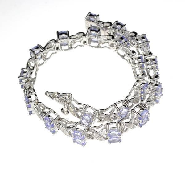 APP: 5k 5CT  Tanzanite & Diamond Sterl Silver  Bracelet