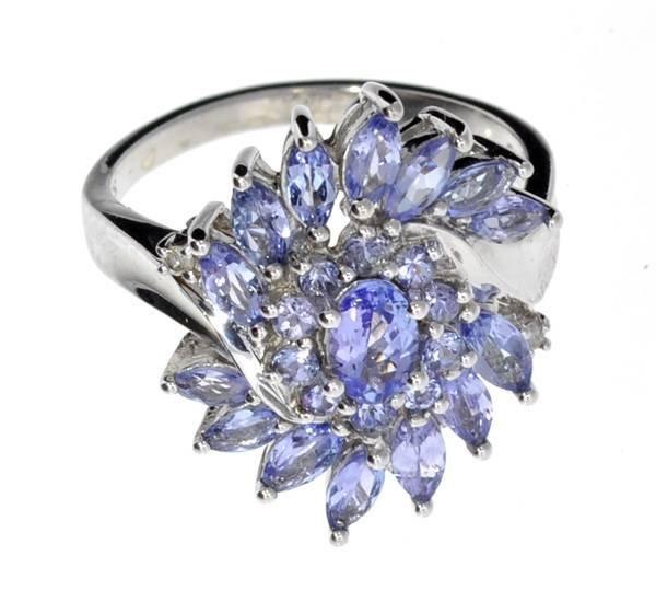 APP: 3k  Tanzanite & Diamond Plat Sterl Silver Ring