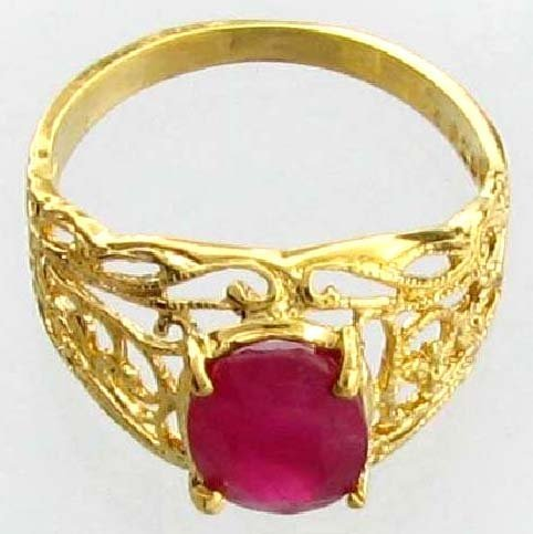APP: 5k 2CT  Oval Cut Ruby & 14kt. Over Silver Ring