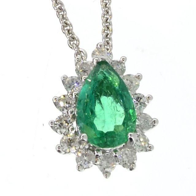 APP: 15k 18kt White Gold, Emerald Diamond Necklace