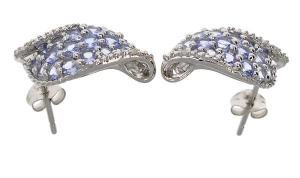 APP: 2k 2CT  Round Cut Tanzanite & Silver Earrings