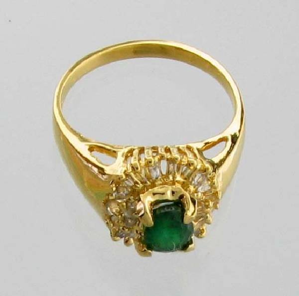 APP: 4k CT Emerald Diamond & 14kt Gold Over Silver Ring