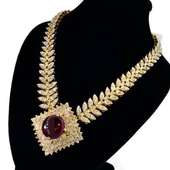 APP: 36k 14 kt. Gold, 7.90CT Ruby & Diamond Necklace
