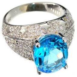 APP: 6k 14kt White Gold, 5CT Topaz & 0CT Diamond Ring