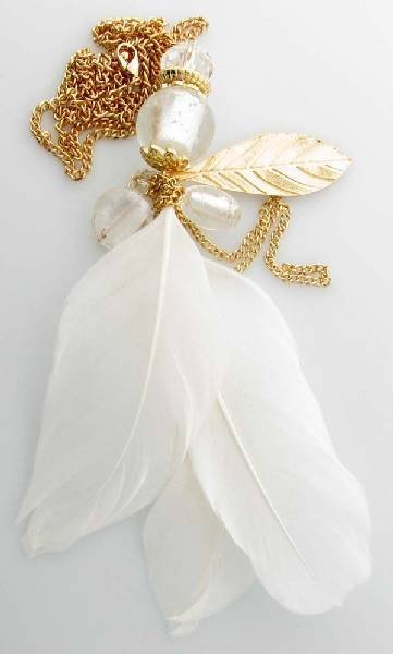 Charlotte Russe Jewelry - White Feathers Necklace