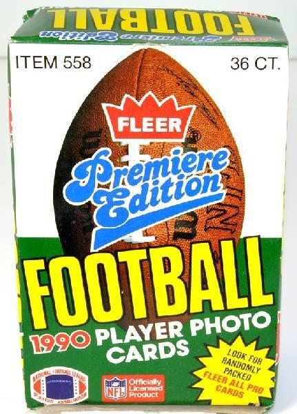 1990 Unopened Box Fleer Premiere Football Cards 36ct