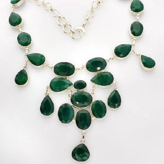 APP: 10k 183CT Mixed Beryl Emerald Necklace