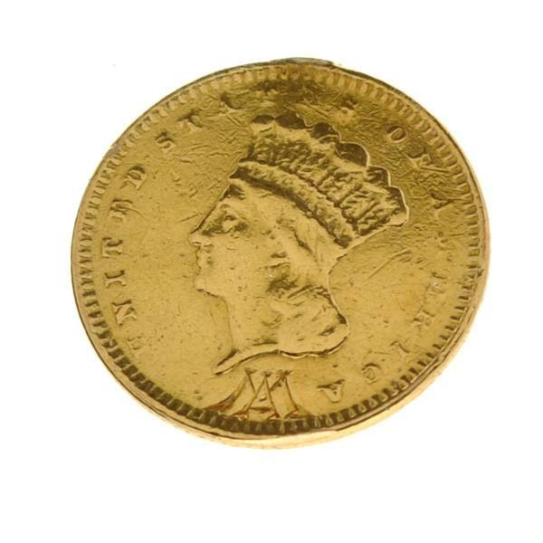 1857 $1 US Indian Head Type Gold Coin - Investment