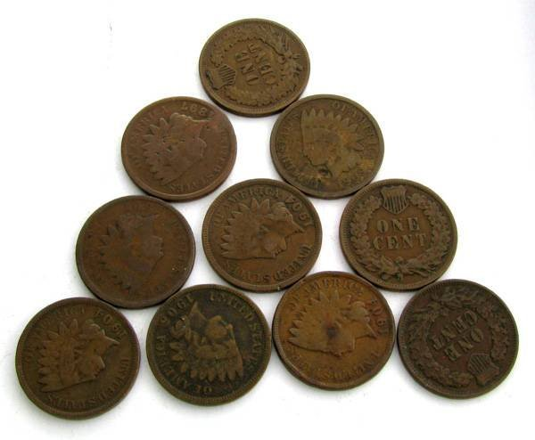 10 US Indian Head Pennies-Various Years Coin
