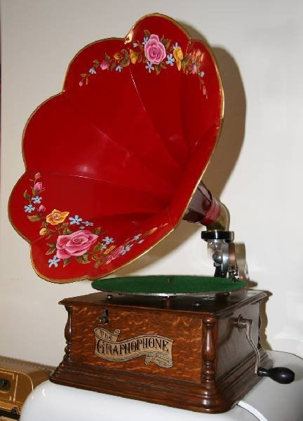 Antique Oak Phonograph w/Vivid Red Morning Glory Horn
