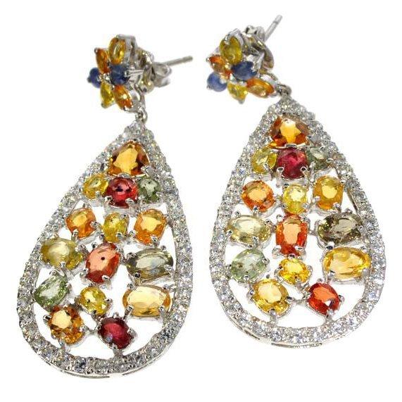 APP: 7k 16CT Multi-Color Sapphire & Silver Earrings