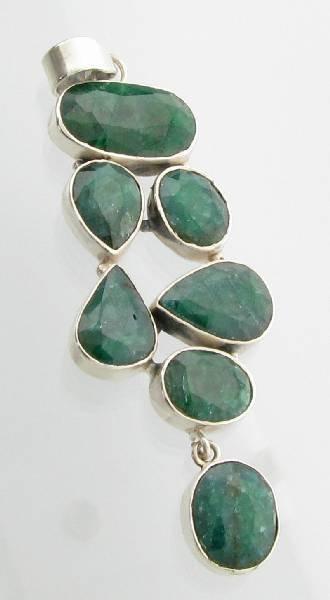 APP: 4k 33 CT Green Sapphire & Sterling Silver Pendant