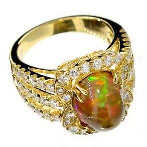 APP: 22k 14kt Gold, 3CT Fire Opal & 1CT Diamond Ring
