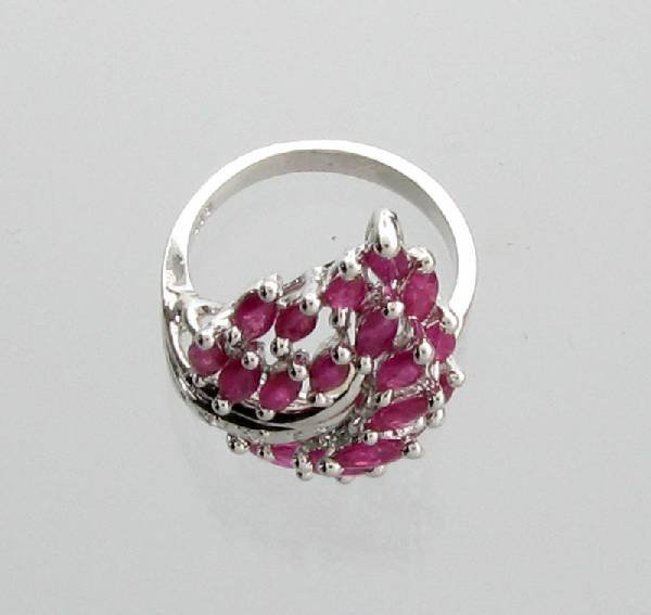 APP: 3k 2.95CT Marquise Cut Ruby & Sterling Silver Ring