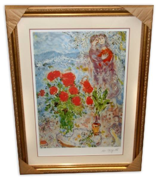Marc Chagall 'Red Bouquet with Lovers'  Framed & Matted