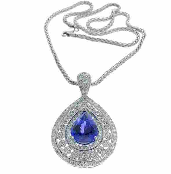 APP: 42k 14kt White Gold, Tanzanite & Diamond Pendant