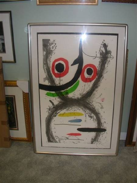 "Joan Miro ""Aquatint, Prise A L'Hamecon"" - Framed Print"