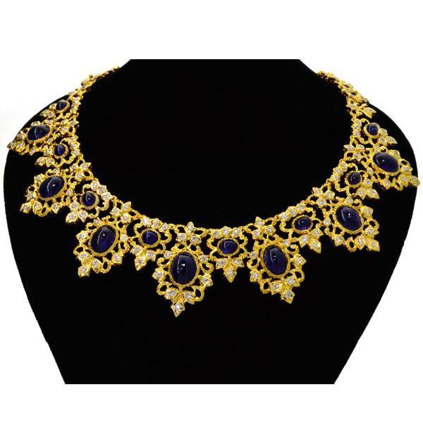 APP: 64k 18kt Gold, 36CT Sapphire & Diamond Necklace