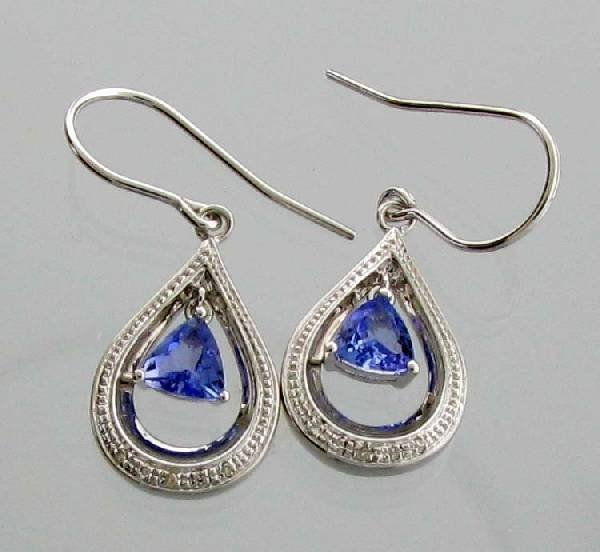 APP: 1k 0CT  Tanzanite Platinum Sterl Silver Earrings