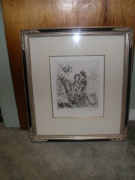 Marc Chagall ''Couples and Angels'' Etching - Musuem Fr