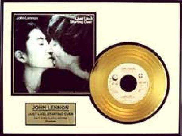 "JOHN LENNON ""Just Like Starting Over"" Gold Record"