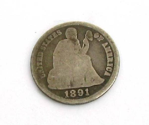 1891 U.S One Dime Liberty Seated Type Coin - Investment