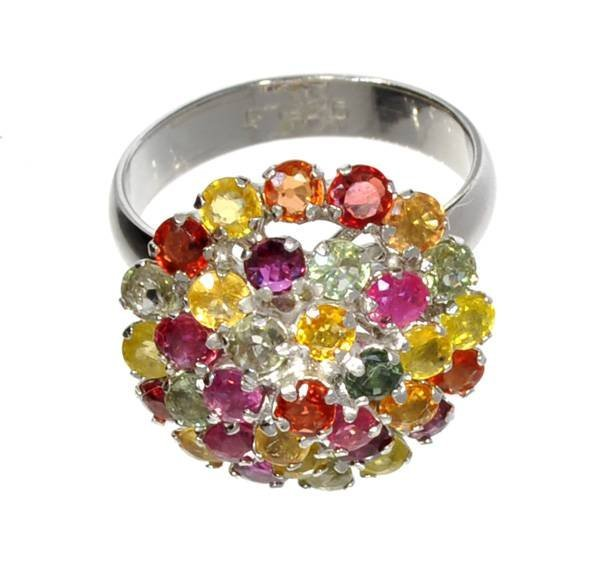 APP: 2k 1CT Round Multi-Color Sapphire & Silver Ring