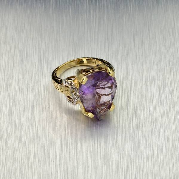 APP: 2k 14kt Yellow & White Gold, 8.60CT Amethyst Ring