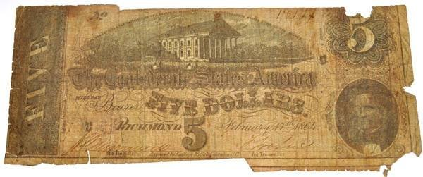 1864 $5 Confederate Note