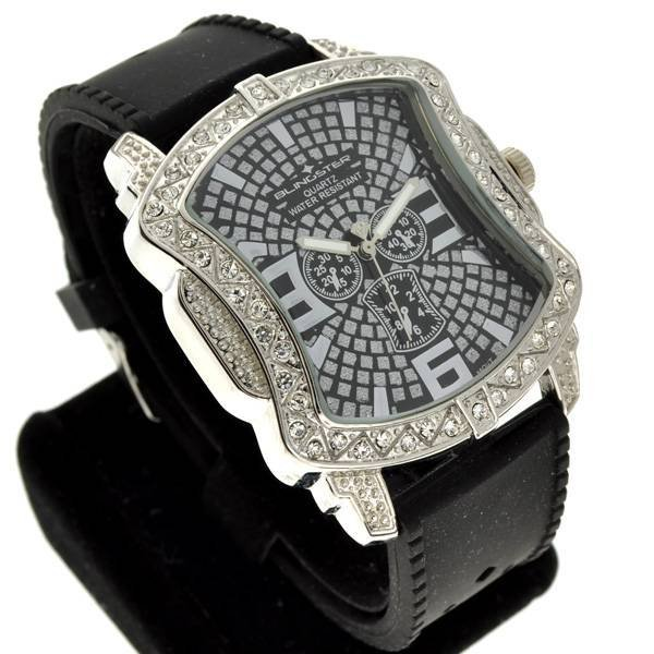 Blingster Men's Silver & Black Diamond Watch