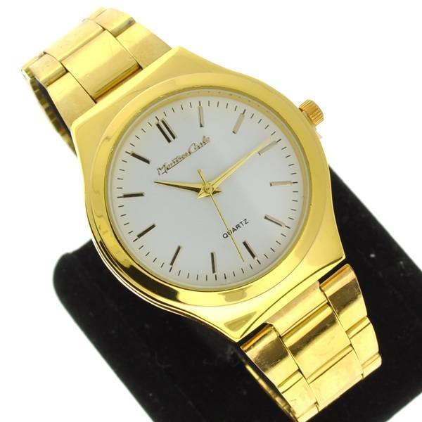 Montres Carlo Men's Round White & Gold Watch